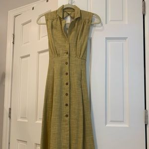Free People Chartreuse Linen Dress